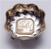 Sale 8376A - Lot 48 - An Australian Sterling Silver Nut Bowl, presenting Seagulls to front & marked Martin Solid Silver to base, W: 10cm Ht: 4.5cm Wt: 1...