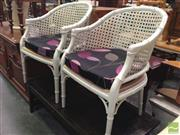 Sale 8412 - Lot 1058 - Pair of Bamboo Style Tubs Chairs with Cushions