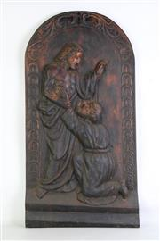 Sale 8931B - Lot 659 - Oak relief carving of Jesus and his disciple (height - 78cm)
