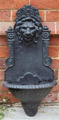 Sale 9080H - Lot 11 - A black painted cast iron water feature with lion mask, approx. 78cm x Width 40cm