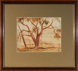 Sale 9123 - Lot 2055 - Anne Hedley Parsons (1870 - 1960) Misty Megalong Valley, 1934 watercolour 18 x 24 cm (frame: 39 x 43 x 2 cm) signed and dated lower ...
