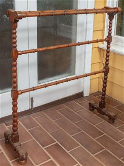 Sale 9120H - Lot 238 - A C19th towel rail with bobbin turned supports and bamboo effect rails, Height 94cm x Width 83cm