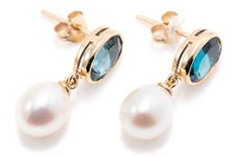 Sale 9194 - Lot 571 - A PAIR OF TOPAZ AND PEARL EARRINGS; each bezel set in 9ct gold with an oval cut London blue topaz suspending a cultured freshwater d...