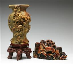 Sale 9209V - Lot 27 - A large soapstone vase featuring flowers (some losses) (H: 40cm), together with A carved soapstone censer (W: 27cm)
