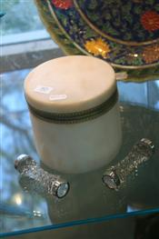Sale 7875 - Lot 80 - Alabaster Lidded Dressing Table Box with a Pair of Cut Crystal & Silver Plated Knife Rests