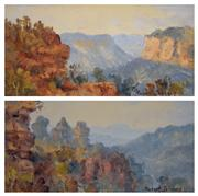Sale 8000 - Lot 52 - Robert Johnson (1890 - 1964) - Evans Lookout, Blackheath and The Three Sisters (2) oil on card