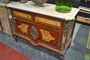 Sale 8289 - Lot 1001 - Marble Top Reproduction Chest of Four Drawers