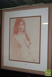 Sale 8509 - Lot 2074 - Artist Unknown Nude Model, conte on paper, 65 x 54cm, signed lower right