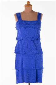 Sale 8550F - Lot 131 - A 100% silk Carla Zampatti royal blue dress with wide straps and layered material, size 10.