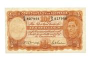 Sale 8712 - Lot 310 - COMMOMWEALTH OF AUSTRALIA TEN SHILLING BANKNOTE; King George VI, Armitage /McFarlane, G/2 827958.