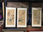 Sale 8752 - Lot 2066 - 3 Oriental Works on Silk, Depicting Birds & Blossoms