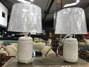 Sale 8817 - Lot 1043 - Pair of Italian Cream Ceramic Cylinder Shape Table Lamps (2989)