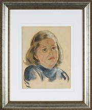 Sale 8850 - Lot 2084 - Artist Unknown - Portrait of a Young Girl 32 x 25cm