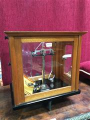 Sale 8882 - Lot 1010 - Selby Scientific Scales, in chromed or nickel finish, in maple & glass case