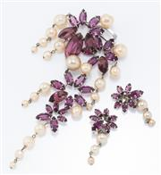 Sale 8926H - Lot 83 - A Christian Dior pendant brooch and clip earring suite set with paste and faux pearls, length of brooch 17cm