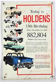 Sale 8926 - Lot 100 - Vintage Tin Holden Sign commemorating its 13th Birthday (45cm x 30cm)