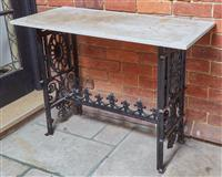 Sale 9080H - Lot 10 - A marble top console table with a cast iron base, Height 78cm x Width 107cm x Depth 48cm