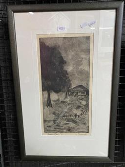 Sale 9176 - Lot 2033 - N Spurret, Homestead ,etching, ed 2/5, frame: 59 x 38 cm, signed lower right -