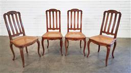 Sale 9188 - Lot 1513 - Set of 4 French oak dining chairs with rattan seats and another (h:101 x w:46 xc d:42cm)