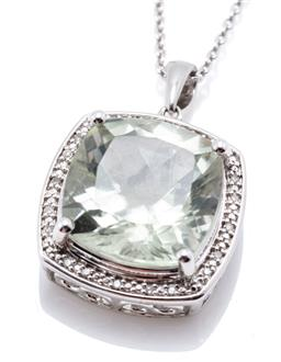Sale 9221 - Lot 375 - A SILVER GREEN AMETHYST AND DIAMOND PENDANT NECKLACE, featuring a cushion cut green amethyst to surround set with 20 single cut diam...