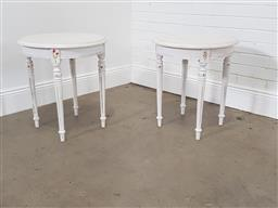 Sale 9255 - Lot 1146 - Pair of round painted side tables (h:62 x d:55cm)