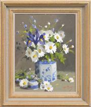 Sale 8301 - Lot 580 - Patricia Moran (1944 - ) - Still Life - Irises and Daisies 39 x 29cm