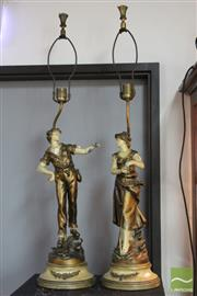 Sale 8365 - Lot 87 - Handpainted Cast Metal Pair of Figural Lamps