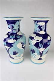 Sale 8436 - Lot 45 - Chinese Dragon Blue & White Vases
