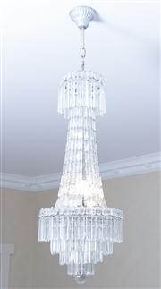 Sale 8470H - Lot 15 - A crystal basket chandelier with four tiers of prismatic drops and ball finial, drop approx. 110cm, width is approx. 36cm  ***Buye...