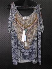 Sale 8514H - Lot 46 - Iona Silk Kaftan Top w open shoulders - size XL