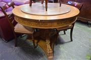 Sale 8566 - Lot 1770 - Single Pedestal Dining Table with Lazy Susan (80 x 109)