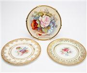 Sale 8590A - Lot 90 - Three cabinet plates including Paragon and Aynsley, with floral decoration and heavily gilt