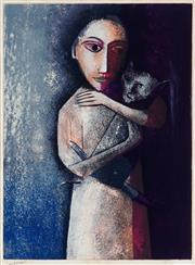Sale 8947 - Lot 505 - Robert Dickerson (1924 - 2015) - Girl with Cat 63.5 x 47.5 cm (frame: 102 x 85.5 x 4 cm)