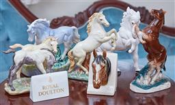 Sale 9103M - Lot 472 - A collection of ceramic horse figural groups together with a Royal Doulton desk plaque.