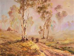 Sale 9109A - Lot 5076 - Anatol Lovas Travelling Cattle in Morning Mist, SA, 1970s oil on board 33 x 44 cm (frame: 44 x 54 x 3 cm) signed lower right