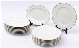 Sale 9130S - Lot 42 - A part suite of Rosenthal gold rimmed Pearl China dinner wares including a set of eight dinner plates, together with eight oval plat...