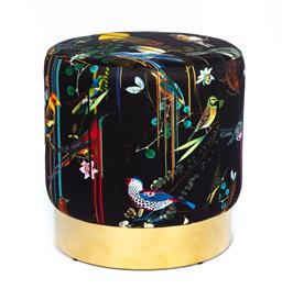 Sale 9140W - Lot 7 - A custom upholstered Coco Republic Baxter round ottoman with goldtone metal base and Christian Lacroix  Birds Sinfonia  silk f...