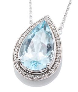 Sale 9253J - Lot 446 - A SILVER TOPAZ AND DIAMOND PENDANT NECKLACE; featuring a pear cut blue topaz of approx. 9.30ct to surround set with 20 single cut di...