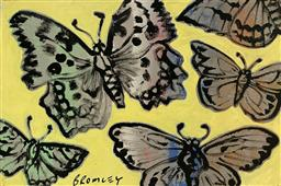 Sale 9248H - Lot 219 - DAVID BROMLEY (1960 - ) Original Synthetic Polymer Painting on Canvas Title: Butterflies Signed: Lower Left Image Size: 60cm...