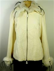 Sale 8134B - Lot 344 - A SASHA CREAM WHITE LEATHER JACKET WITH FUR COLLAR AND CUFFS; UK 14 (some marks).