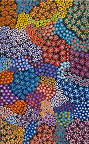 Sale 8345A - Lot 24 - Abie Loy Kemarre (1972 - ) - Bush Seed 150 x 93cm (framed & ready to hang)