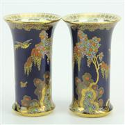 Sale 8413 - Lot 22 - Carlton Ware 'Paradise Bird & Tree' Pair of Vases