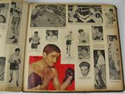 Sale 8450S - Lot 707 - Large Format Boxing Scrapbook - nicely collaged