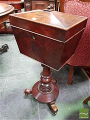 Sale 8485 - Lot 1015 - Mid 19th Century Mahogany Teapoy, of sarcophagus form, with later fitted tin liner & compartments, turned pedestal & round base