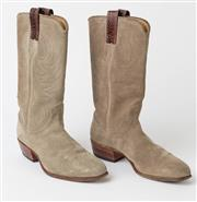 Sale 8550F - Lot 1 - A pair of ladies RM Williams boots in suede with snakeskin highlights, in very good condition with little wear, original RM Williams...