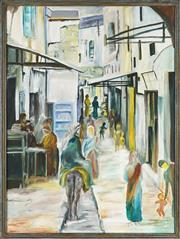 Sale 8845 - Lot 2034 - Artist Unknown - Middle Eastern Alley Scene 120 x 89.5cm
