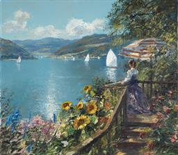 Sale 9109 - Lot 582 - Hans Becker (1930 - 2013) Summer at the Lake House oil on canvas 69.5 x 79.5 cm (frame: 93 x 103 x 5 cm) signed lower right