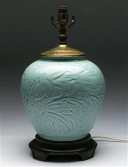 Sale 9144 - Lot 263 - Chinese celadon table lamp on timber base (H:42cm)