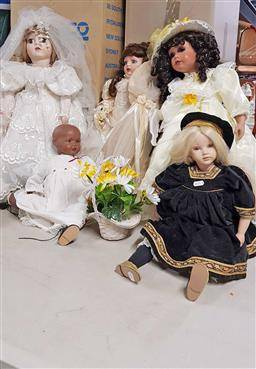 Sale 9176 - Lot 2283 - Collection of six ceramic dolls incl. an 80 year old German example
