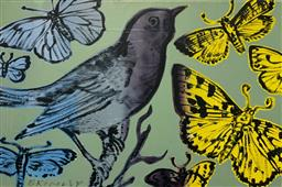 Sale 9248H - Lot 202 - DAVID BROMLEY (1960 - ) Original Synthetic Polymer Painting on Canvas Title: Butterflies and Bird Signed: Lower Left Image S...
